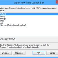 New True Launch Bar dialog box