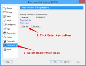 "Select the ""Registration"" page (at the left side) and click the ""Enter Key"" button"